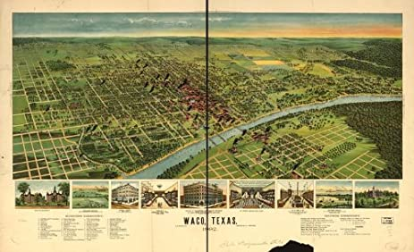 Amazoncom Historic Panoramic Map Reprint Waco Texas 1892 36 x
