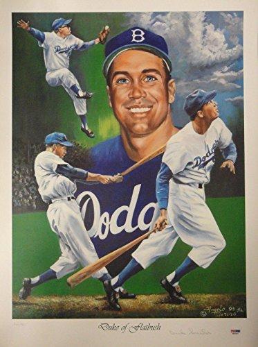 Duke Snider Hand Signed Autographed 18x24 Signed Poster Duke of Flatbush - PSA/DNA Certified - Sports Memorabilia