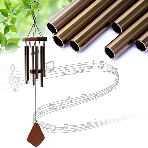 """UPmagic Wind Chimes Outdoor, 25"""" Amazing Grace Wind Chimes with 6 Aluminum Tubes Musical Melody Wind Bell for Garden, Patio, Balcony, Indoor Decor with Beautiful Sound (Golden)"""