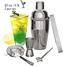 VIVREAL 750ml Cocktail Shaker Set 5pcs Stainless Steel Shaker Kit Jigger Mixer Ice Strainer Clip Spoon Set for Cocktail Martini Drink