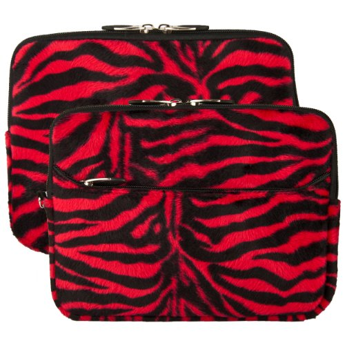 Red Zebra Print Design VG Lushly Faux Fur Sleeve Cover for E-Fun Nextbook Premium 10SE 9.7-inch Android Tablet + SumacLife TM Wisdom Courage Wristband (Zebra Print Briefcases)