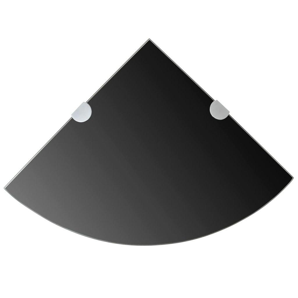vidaXL /Étag/ère de coin avec supports chrom/és Verre Noir 25 x 25 cm