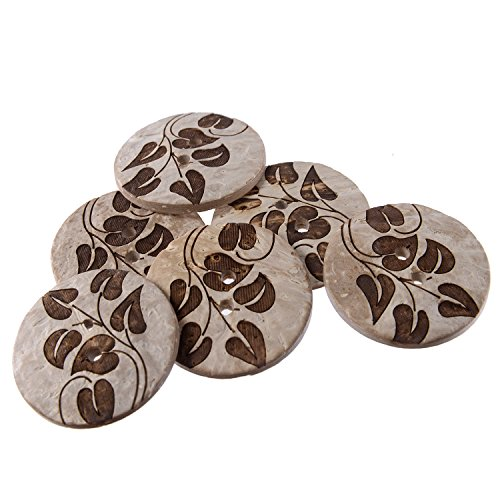 Real Coconut Button - 2 Holes - Laser Etching - Branch and Leaves Pattern - 44Line - White