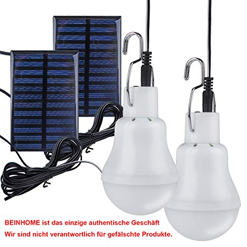 Beinhome LED Solar Bulb Lamps,Solar Light Bulb LED with Solar Panel 3W, Solar Lamp Lightening for Outdoor,Indoor,Camping…