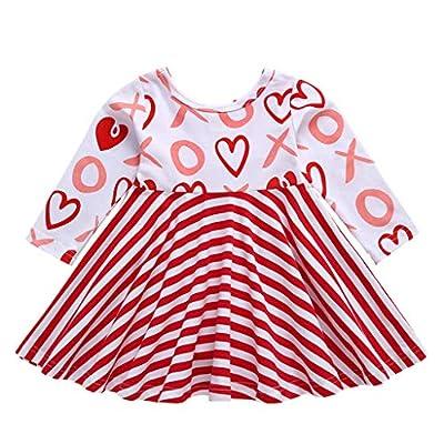 Toddler Kid Baby Girl Valentine's Day Stripe Heart Print Princess Dress Tops