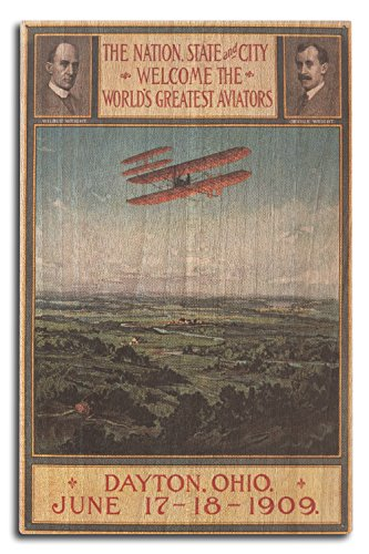 Lantern Press Wright Brothers Return from France - Vintage Promotional Poster (10x15 Wood Wall Sign, Wall Decor Ready to ()