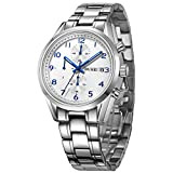 BUREI Luxury Classic Elegant Mens Chronograph Watch Stainless Steel Bracelet 50M Water-resistant (White dial & blue hand)