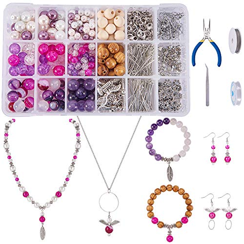 - SUNNYCLUE 1 Set 767pcs Jewelry Making Kit Angel Wings Earrings Feather Pendant Bracelet Necklace Include Natural Gemstone Beads, Pearl and Wood Beads and Jewelry Finding Tools for Girls, Color 1
