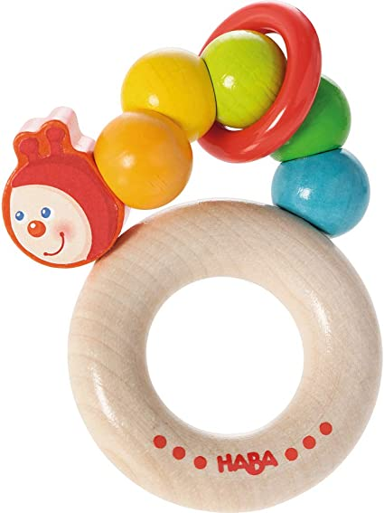 HABA Clutching Toy Rainbow Ball Wooden Rattle /& Teether with Plastic Rings