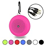 Pink Portable Waterproof Bluetooth Speaker and FM Radio with Hanging Hook - Wireless, Hi-Fi Speakers, 5W Driver - USB and Memory Card Input - by Gee Gadgets HD Sound and Bass