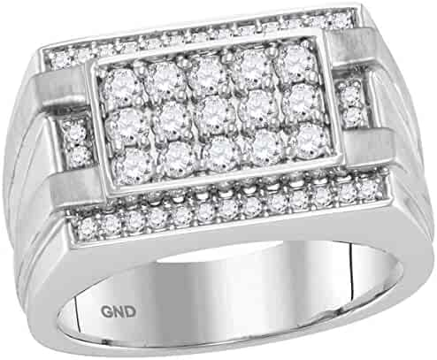 14kt White Gold Mens Round Diamond Square Cluster Ring 1.00 Cttw