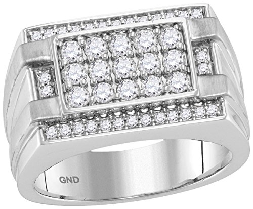 Diamond Ring Mens Cluster (Roy Rose Jewelry 14K White Gold Mens Round Diamond Square Cluster Ring 1-Carat tw ~ Size 10)