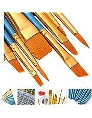 AOOK 15 Pieces Paint Brush Set,5PCS Palette Knife 10 PCS Watercolor Professional Paint Brushes Artist for Watercolor Oil Acrylic Painting (Blue+Palette Knife)