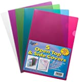 5 x A4 Gloss Coloured Plastic Open Top & Side Report File Project Cover Files