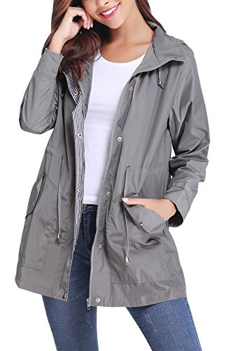 (iClosam Women Raincoats Waterproof Lightweight Rain Jacket Outdoor Windbreaker Trench Coat Grey)
