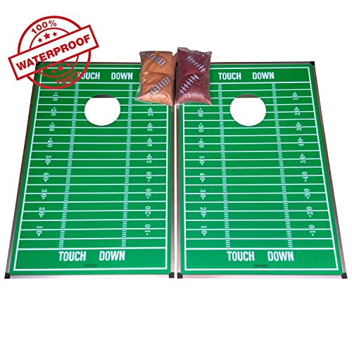SPORT BEATS All Waterproof Premium Cornhole Toss Game 2' X 3' Tailating Size, 8 Weather Resistance Bags Included,Fun For All (Broncos Family Decal)