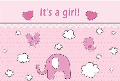 CSFOTO 8x6ft Background for Sweet Girl Baby Shower Photography Backdrop It's a Girl Pregnancy Announcement Gender Reveal Party Pink Elephant Celebrate Newborn Photo Studio Props Vinyl Wallpaper (Photo Digital Album 8')
