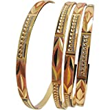 Women's Traditional Indian Sparkling Tri-Gold-Toned Ethnic Bangle Bracelet Set of Four (2-12)