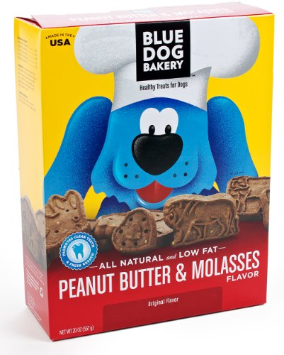 Blue Dog Bakery Natural Low Fat Dog Treats, Peanut Butter and Molasses Flavor, 20-Ounce Boxes (Pack of 6), My Pet Supplies