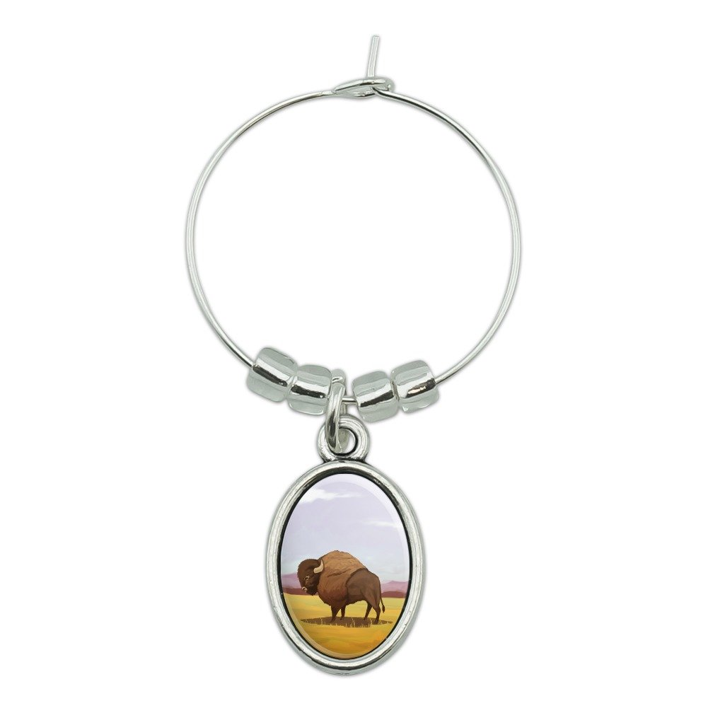 American Bison Buffalo Herd on the Plains Wine Glass Oval Charm Drink Marker Graphics and More