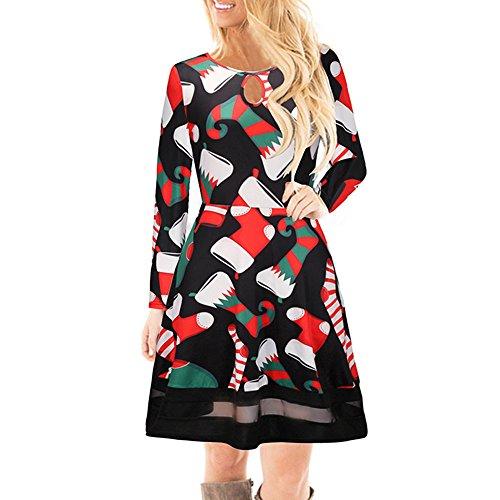 Women's Christmas Dress, Sunyastor Long Sleeve Casual Christmas Dress Deer Elk Sexy Evening Party Dress -