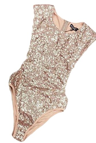 Hokny TD Womens Sexy Scoop Neck Sleeveless Sequins Slim Bodysuit Golden S (Sequin Sleeveless Neck)