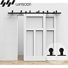 Winsoon T-Formed Sliding Bypass Barn Wood Door Hardware Kit New Style System Wall Mount Bracket Fit Double Wooden Doors (8FT)