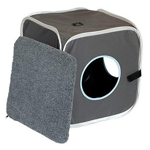 A4Pet Foldable Cat House/Cube/Condo with Cat Bed and Cat Toy Hanging Ring