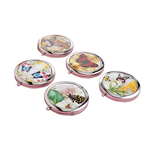 2Pcs Stainless Vintage Foldable Flower Butterfly Double Sides Pocket Mirror Makeup Round Compact Mirrors Zhi Jin