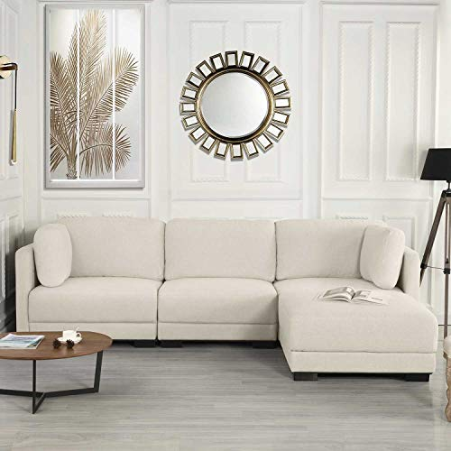 Modular Sectional Sofa Couch Convertible Sofa Sectional w/Reversible Chaise Ottoman, 3 Piece (Custom Couch Feature) Modern L-Shaped Sectional Sofa from 2Pc Loveseat to Chaise Ottoman Sofa, White