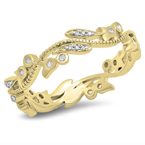 Gold Unique Diamond Eternity Band (DazzlingRock Collection 14K Yellow Gold Round Diamond Vintage Style Wedding Eternity Band Stackable Ring 1/5 CT, Ring Size 7)