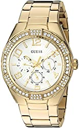 Guess Women's U0729l2 Sporty Gold-tone Stainless Steel Watch With Multi-function Dial & Pilot Buckle