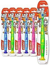 elmex Tandenborstel voor kinderen 2-6 jaar, zachte set van 6 handtandenborstel met zuignap, verpakking bevat verschillende kleuren