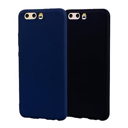 Funda HuaWei P10, 2Unidades Carcasa HuaWei P10 Silicona Gel, OUJD Mate Case Ultra Delgado TPU Goma Flexible Cover para HuaWei P10 -Azul + negro
