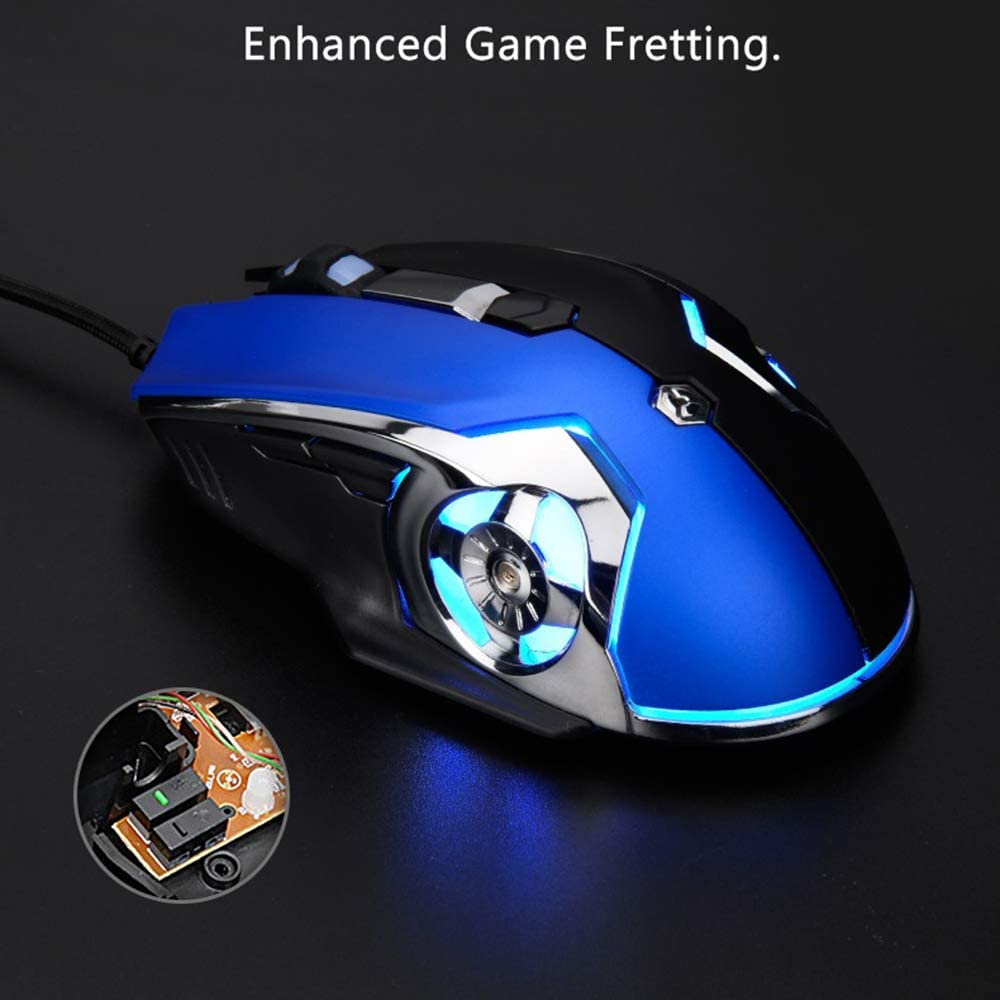 YSM Gaming Mouse USB Wired Mouse Macro Programming 6-Key Customized 1000//1600//2400//3200DPI Mouse for Gamer Home Office,Redblue