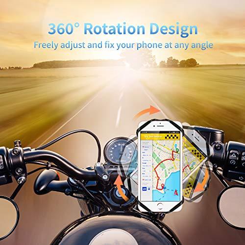 HOTERB Support Téléphone Vélo, Support Téléphone Moto Réglable Détachable Support Smartphone Velo pour Vélo Tout Terrain, Bicyclette, 360° Rotation Support de Velo pour Smartphones de 4