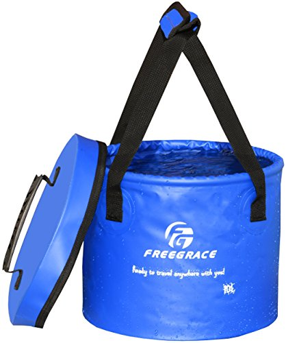 Freegrace Premium Collapsible Bucket -Multifunctional Folding Bucket -Perfect Gear for Camping, Hiking & Travel (Navy Blue, 10L(Upgraded))