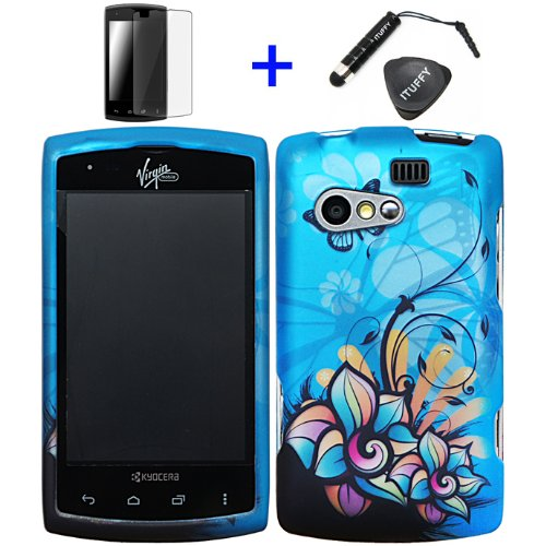 4 items Combo: ITUFFY LCD Screen Protector Film + Mini Stylus Pen + Case Opener + Blue Butterfly Orange Pink Green Color Daisy Flower Design Rubberized Snap on Hard Shell Cover Faceplate Skin Phone Case for KYOCERA RISE C5155 (SPRINT / VIRGIN MOBILE)