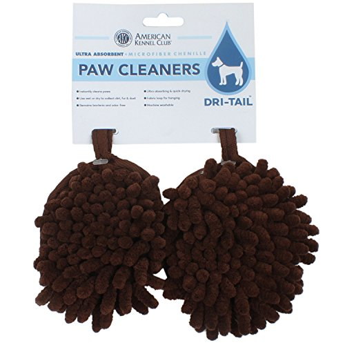 AKC - American Kennel Club Dri-Tail Ultra Absorbent Microfiber Chenille Paw Cleaners, Brown
