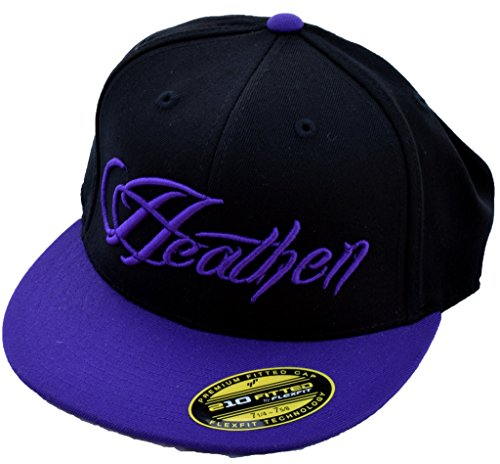 (Heathen Script Fitted Hat (Black/Purple, 7 1/4-7 5/8))