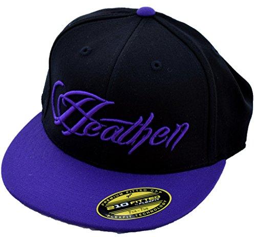 Heathen Script Fitted Hat (Black/Purple, 7 1/4-7 5/8)