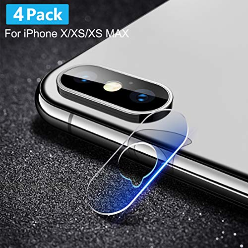 [4 Pack] Tamoria for iPhone X/Xs/Xs MAX Camera Lens Screen Protector 0.2MM One Second Fit Ultra Thin HD Organic Tempered Glass Camera Lens Protector for iPhone X/XS/XS MAX from Tamoria
