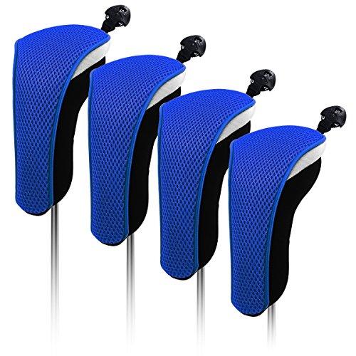 4x Thick Neoprene Black Blue Hybrid Golf Club Head Cover Headcovers (Blue) ()