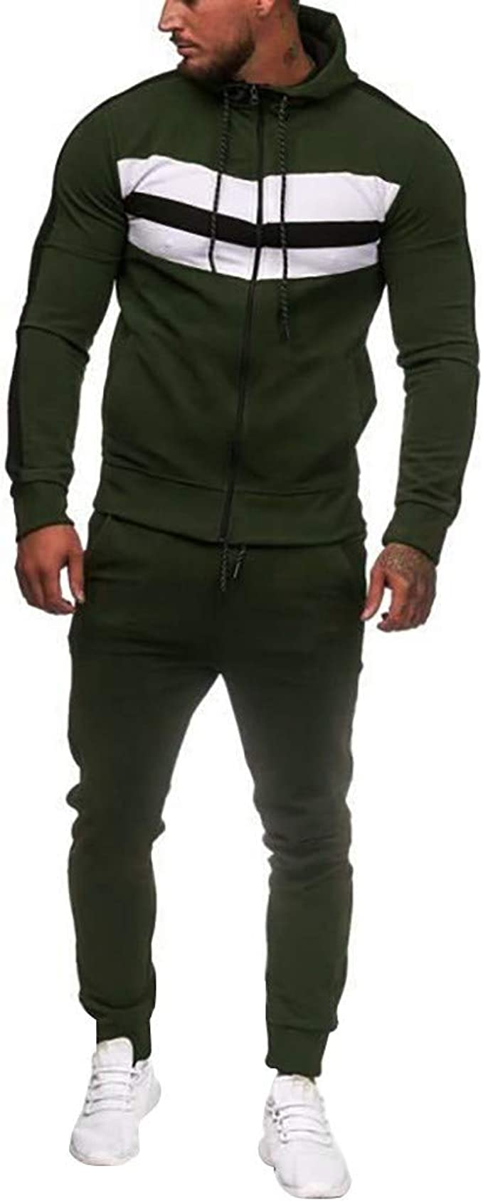 Whitive Men Slim-Fit Zip Up 2 Piece Stand Up Collar Active Tracksuit Jog Set