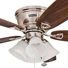 Keep your space cool with a Classic Low-Profile Honeywell Ceiling Fan. This fan has a warm design that will complement most any space. Hang it in a living area or family room to keep things cool in the summer months and even reverse the motor...