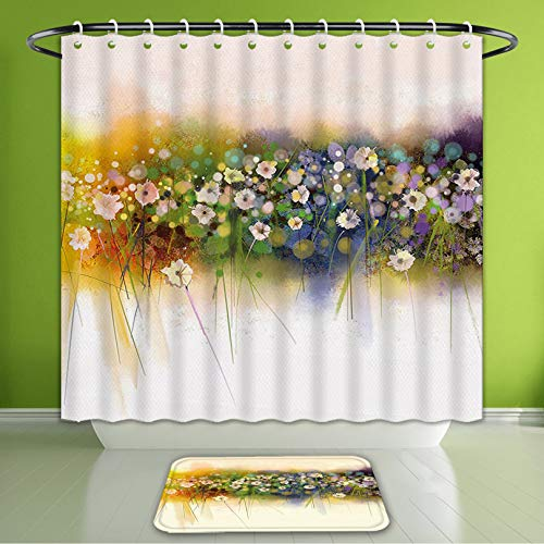 Waterproof Shower Curtain and Bath Rug Set Watercolor Flower Home Decor Vogue Display Wisteria Violets Wreath Fragrant Pla Bath Curtain and Doormat Suit for Bathroom Extra Long Size 72