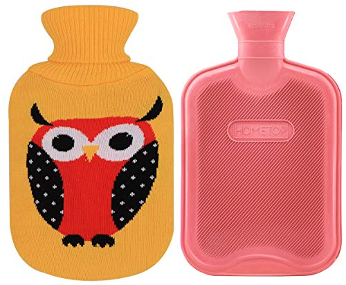 Premium Classic Rubber Hot Water Bottle and Cute Animal Embroidery Knit Cover (2L, Pink/Yellow with Owl) ()