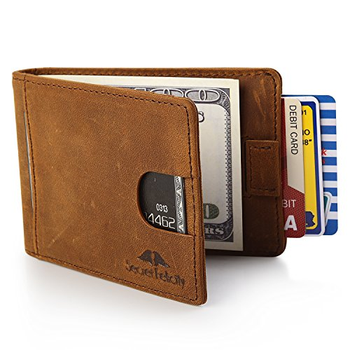 Genuine Leather RFID Blocking Wallet With Money Clip For Men Slim Bifold Profile