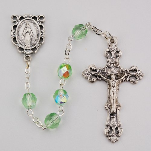 R391-PE/G 6MM AB PERIDOT/AUGUST ROSARY
