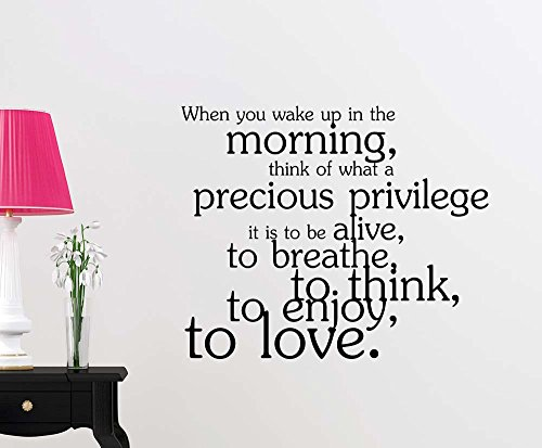 When you wake up in the morning think of what a precious privilege sticker nursery vinyl saying lettering wall art inspirational sign wall quote decor by Simple Expressions Arts